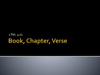 Book, Chapter, Verse