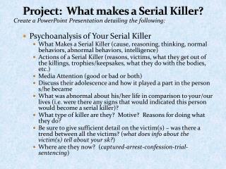 Project:  What makes a Serial Killer?