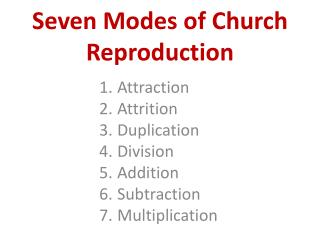 Seven Modes of Church Reproduction