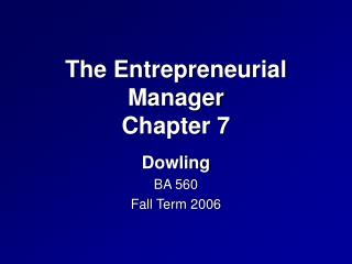 The Entrepreneurial Manager Chapter 7