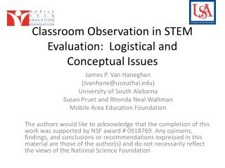 Classroom Observation in STEM Evaluation:  Logistical and Conceptual Issues