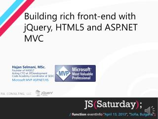 Building rich front-end with jQuery, HTML5 and ASP.NET MVC