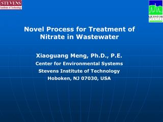 Novel Process for Treatment of  Nitrate in Wastewater