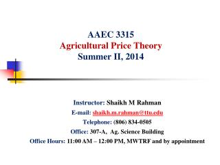 AAEC  3315 Agricultural Price Theory Summer  II, 2014