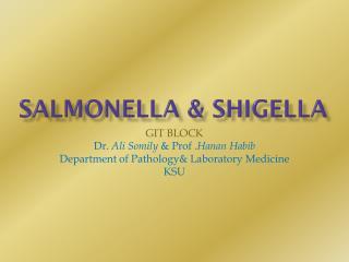 Salmonella &  shigella