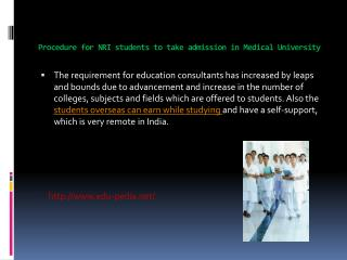 Procedure for NRI students to take admission in Medical Uni
