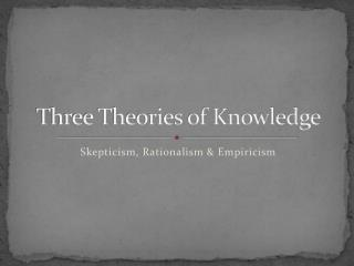 Three Theories of Knowledge