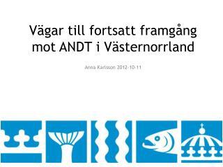 Vägar till fortsatt framgång mot ANDT i Västernorrland