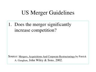 US Merger Guidelines