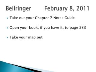 Bellringer		February 8, 2011