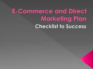 E-Commerce and Direct Marketing Plan