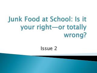 Junk Food at School: Is it your right—or totally wrong?