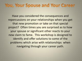You, Your Spouse and Your Career