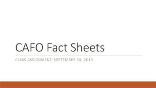 CAFO Fact Sheets