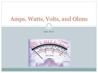 Amps, Watts, Volts, and Ohms