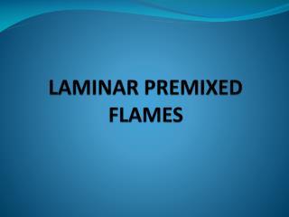 LAMINAR PREMIXED FLAMES