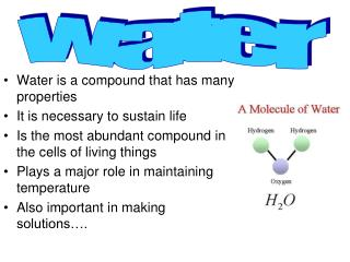 Water is a compound that has many properties It is necessary to sustain life