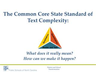 The  Common Core State Standard  of  Text  Complexity: