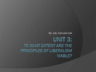 Unit 3: To what extent are the principles of Liberalism viable?