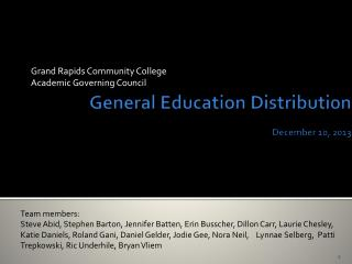 General Education Distribution  December 10, 2013