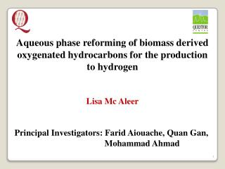 Aqueous phase reforming of biomass derived oxygenated hydrocarbons for the production to hydrogen