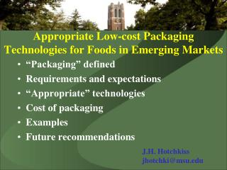 Appropriate Low-cost Packaging Technologies for Foods in Emerging Markets