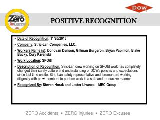 Date of  Recognition : 11/20/2013 Company : Stric-Lan Companies, LLC.