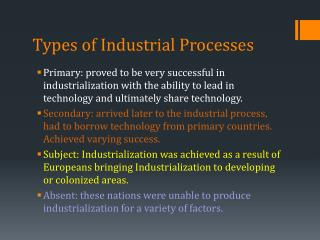 Types of Industrial Processes