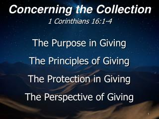 The Purpose in Giving The Principles of Giving The Protection in Giving The Perspective of Giving