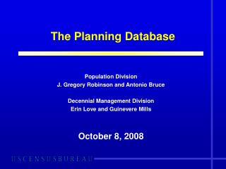 The Planning Database