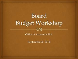 Board  Budget Workshop