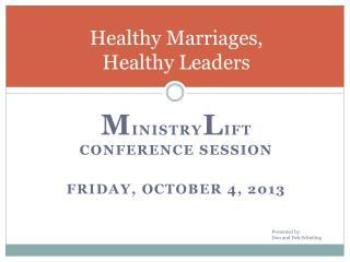 Healthy Marriages,  Healthy Leaders
