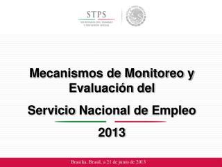 Mecanismos de Monitoreo y  Evaluación del  Servicio  Nacional de  Empleo 2013
