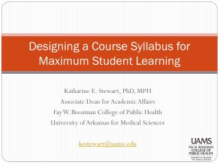 Designing a Course Syllabus for Maximum Student Learning