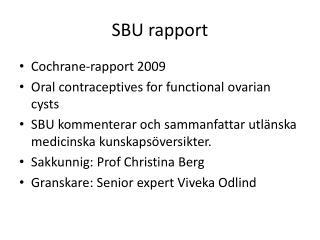 SBU rapport