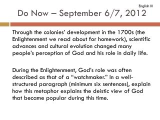 Do Now – September 6/7, 2012