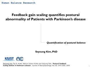 Feedback gain scaling quantifies postural abnormality of Patients with Parkinson's disease