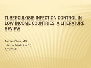 Tuberculosis infection control in low income countries: a literature review