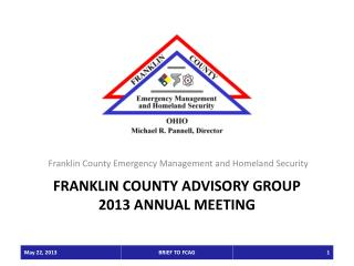 Franklin County ADVISORY GROUP 2013 ANNUAL MEETING
