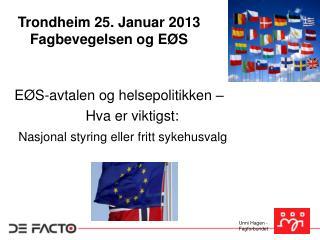 Trondheim 25. Januar 2013 Fagbevegelsen og EØS
