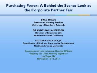 Purchasing Power:  A Behind the Scenes Look at the Corporate Partner Fair