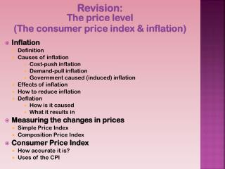 Revision:  The price level  (The consumer price index & inflation ) Inflation Definition
