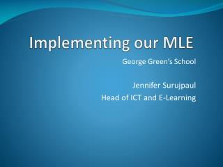 Implementing our MLE
