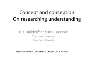 Concept  and  conception On  researching understanding