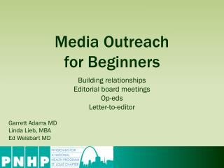 Media  Outreach  for Beginners