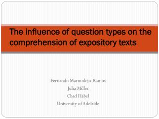 The influence of question types on the comprehension of expository texts