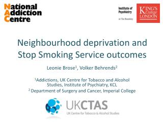 Neighbourhood deprivation  and Stop Smoking Service outcomes