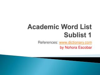 Academic Word List Sublist  1