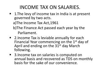 INCOME TAX ON SALARIES.