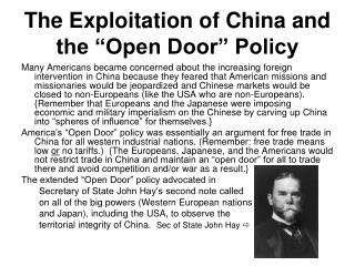 "The Exploitation of China and the ""Open Door"" Policy"